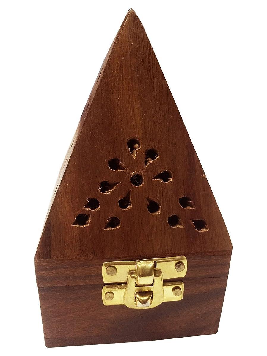 比類のないプレミア暖かくクリスマス感謝祭ギフト、7インチ木製クラシックピラミッドスタイルBurner ( Dhoopホルダー) with Base正方形とトップ円錐形状、木製香炉ボックス、木製チャコール/円錐Burner