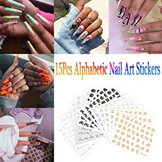 giokfine Nail Alphabet Sticker, Nail Art Stickers Letter Reflections Tape Adhesive Foils Fashion DIY Decoration (15PCS)