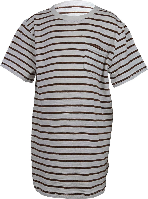 Janie and Jack Boy's White/Brown Striped Slub Pocket Tee - 4