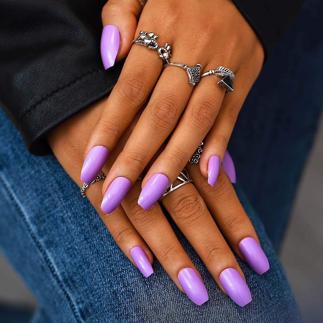 New color Campsis Glossy Coffin Fake Ranking TOP7 Nails Press Acry Purple on Long