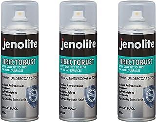 JENOLITE 3 x Directorust - Pintura Antioxidante Negra - óxido Bloqueador - Aplicar Directamente a la Oxidación - Satén Negro - 400ml