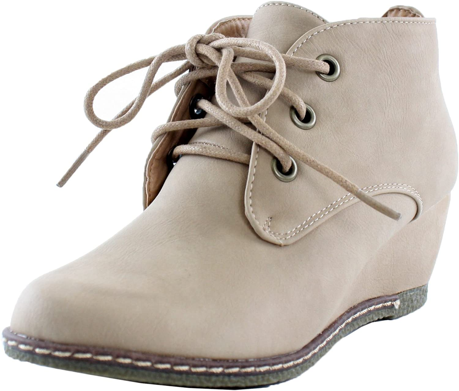 Nature Breeze Women's Lace Up Faux Leather Ankle Wedge Booties Premium Beige
