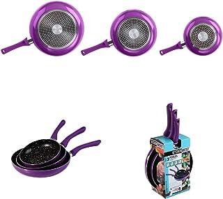 Juego de 3 sartenes de inducción con revestimiento antiadherente de aluminio (inducción, asas suaves, sartén, 20, 24, 28 cm), color lila