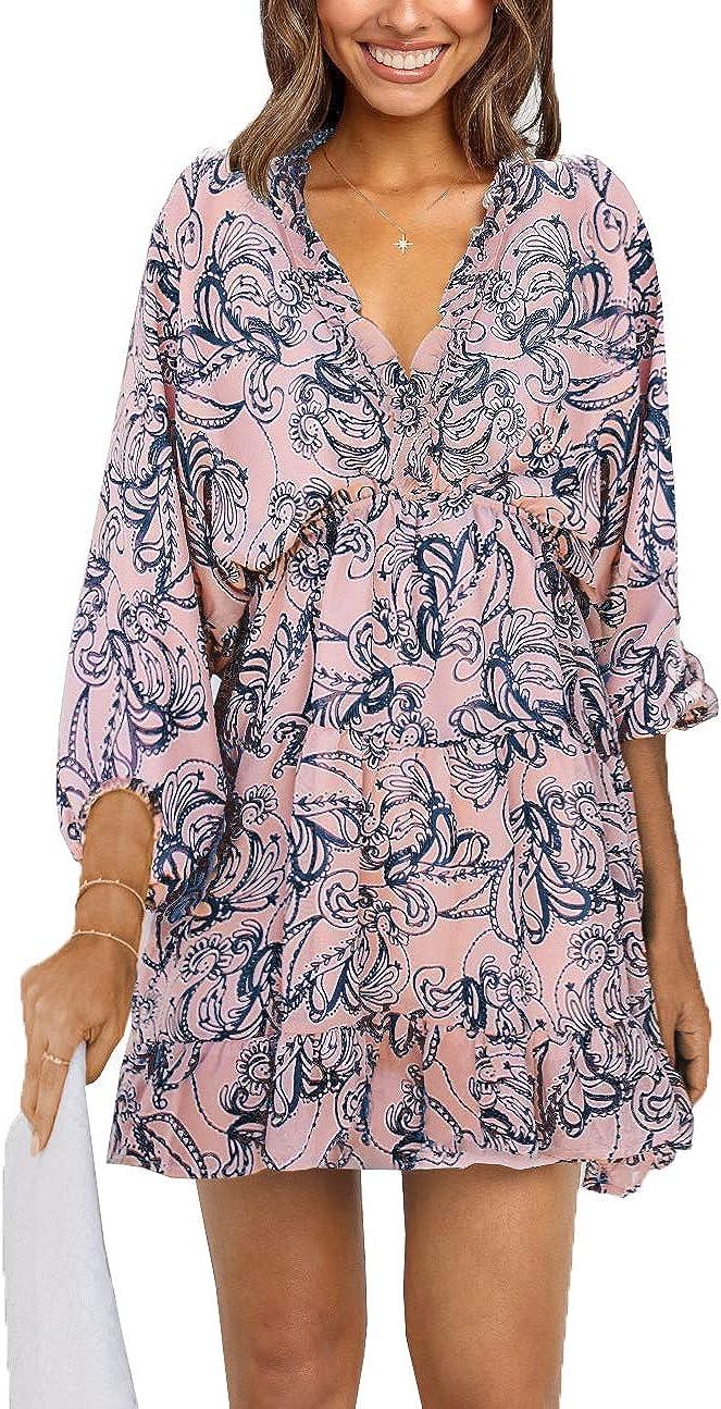 Tiksawon Fees free!! Womens Casual Summer Fashion Floral Printed Ne Gifts V Ruffle