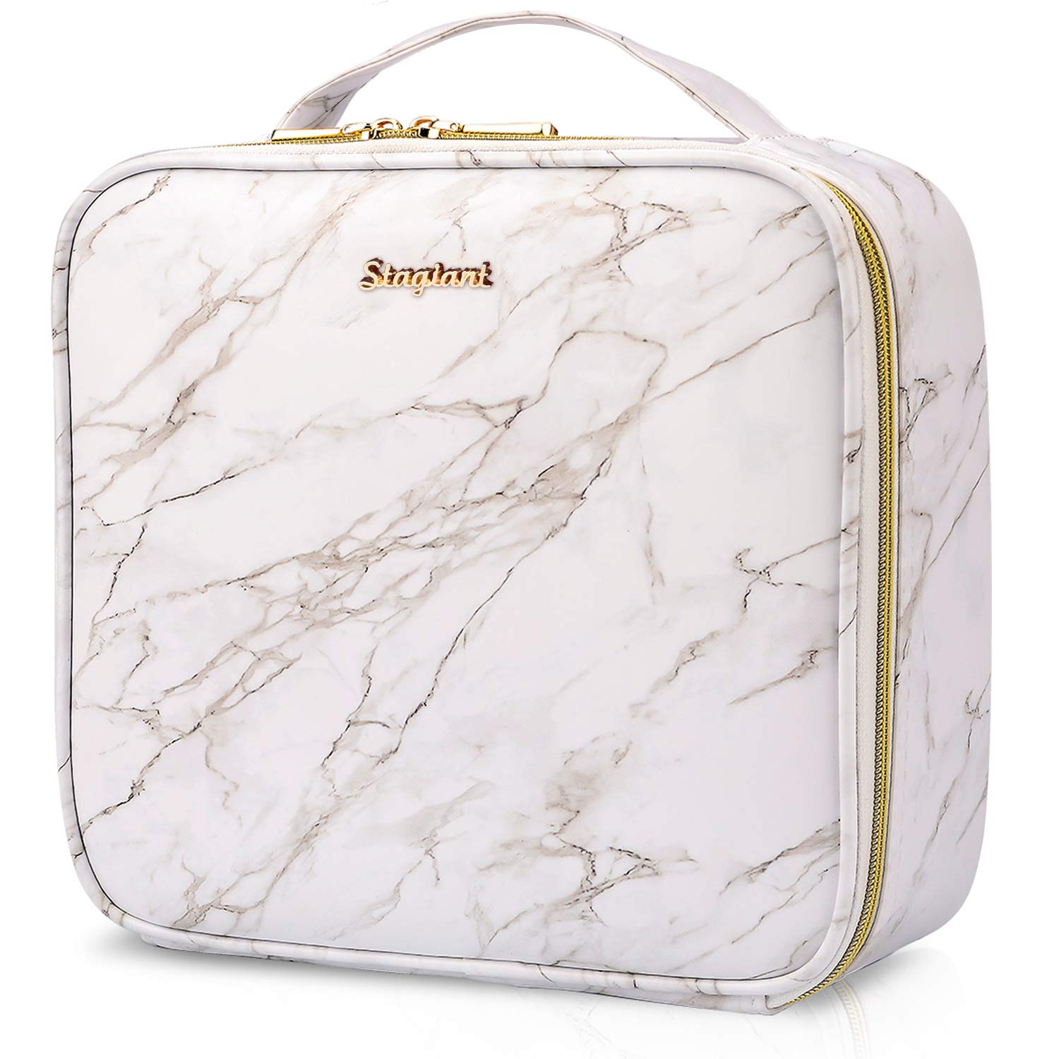Stagiant PU Leather Makeup Bag Cosmetic Case Travel Beauty Box Hairdressing Tools Organiser Storage Box Make Up Train Case with Removable Compartment, Marble Pattern