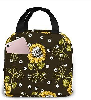Halloween Sunflowers Skulls Lunch Tote Bag Black Background Zipper-Sealed Leak-Proof Portable Thermal Insulation Bag Front...