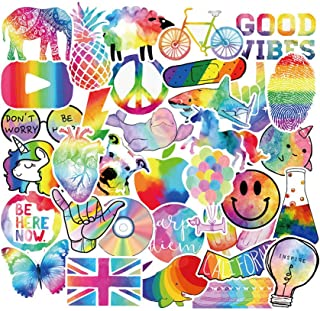Cute Vsco Rainbow Stickers for Water Bottle Laptop, Women Girls Teens Vinyl Stickers Symphony Rainbow Colorful Graffiti Ae...