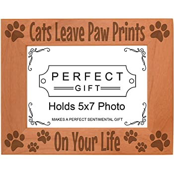 ThisWear Cat or Dog Paw Frame You Gave Me Your Paw Pet Lover Gifts Wood Engraved 4x6 Landscape Picture Frame