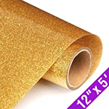 Glitter Heat Transfer Vinyl HTV Rolls 12inx5ft, Iron on HTV Vinyl Compatible with Silhouette Cameo & Cricut by TransWonder(Deep Gold)