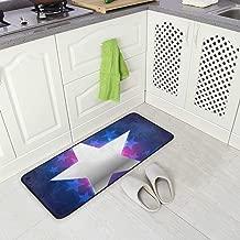 Kitchen Rugs Runner Silver Star Central Royal Blue Color Comfort Floor Mat Bath Mats Bed Desk Bathroom Area Rug Long Doormat Carpet Home Hotel