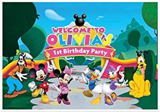 Mickey Mouse Clubhouse Birthday Banner Personalized Party Decoration Cake Table Backdrop - PINK