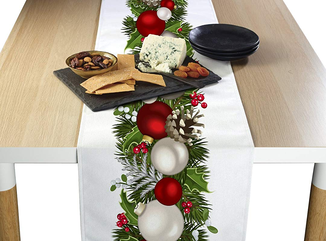 Fabric Textile Products Table Runner 100 Milliken Polyester Machine Washable 14x108 Christmas Garland Border