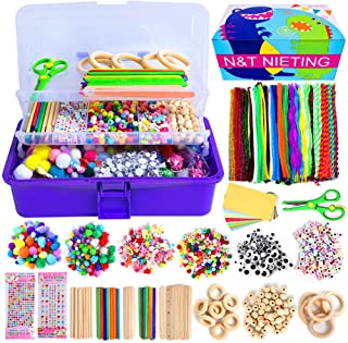 N&T NIETING 1358Pcs Craft Kits for Kids Ages 4-8, Art Craft Supplies Include Pipe Cleaners, Pom Poms, Feather and Felt, Fo...