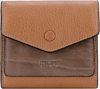 Women's Small Leather Wallet RFID Card Holder Mini Bifold Ladies Flat Pocket Purse (Natural Light Brown & Waxed Apricot)