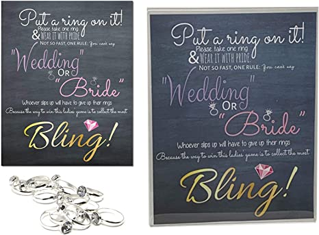 Put a ring on it game wlarge rings Birthday Engagement Bachelorette hens Party Bridal Shower Fabulous Fifty fashion Paris fun 4 guests