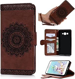 Badalink Galaxy Grand Prime Case,Samsung Galaxy Grand Prime Case G5308/G530H Wallet Embossed Totem Flower PU Leather Case Slim Fit Soft TPU Inner Cover Magnetic Clip ID/Credit Card Holders Brown