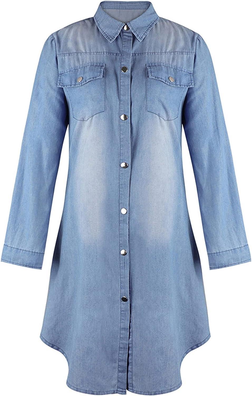 Women's Oversized Long Sleeve Denim Jean Jacket Mid Long Fall Winter Plus Size Jean Biker Coat