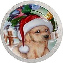 Lade Handgrepen Trek Ronde Kristal Glas Kabinet Knoppen Keuken Kabinet Handvat,Pug Hond in Xmas hoed Xmas Tree Bird