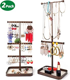 Keebofly Jewelry Stand Organizer Necklace Organizer Display with Adjustable Height for Necklaces Bracelet Earrings and Ring Pack of 2 Bronze