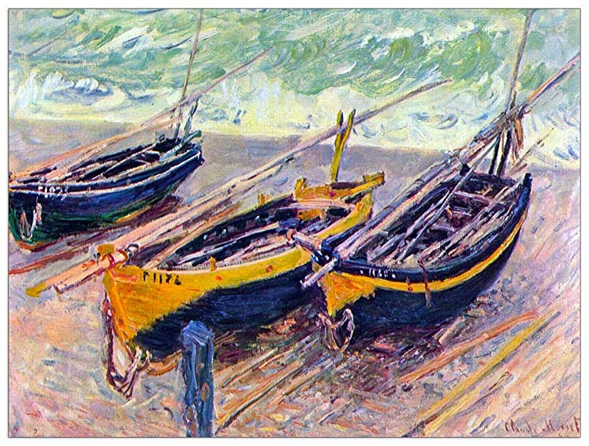 ArtPlaza TW92000 Monet Claude-Three Fishing Boats in Eretrat Decorative Panel, 35.5x27.5 Inch, Multicolored