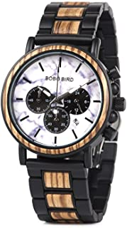 BOBO BIRD Mens Wooden Watches Business Casual Wristwatches Stylish Ebony Wood & Stainless Steel Combined Chronograph with ...