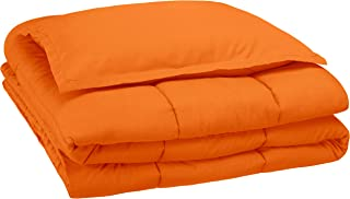 AmazonBasics Easy-Wash Microfiber Kid's Comforter and Pillow Sham Set - Twin, Bright Orange