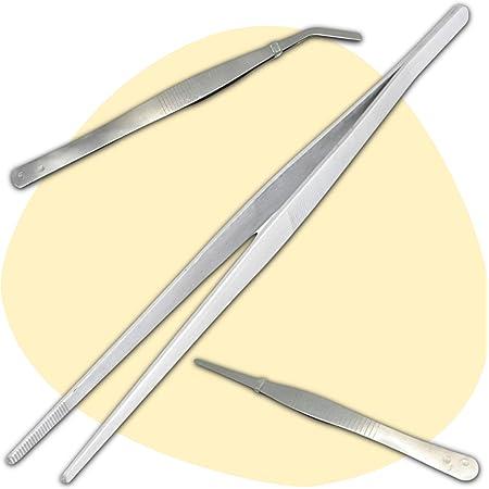 3 Pince Alimentaire Inox (1 Grande Pince Cuisine 30 cm - 1 Pince Droite 18 cm - 1 Pince Courbée 18 cm) - Solution Simple et Efficace pour la Cuisson et le Dressage Assiette - (Accessoire Cuisinier)