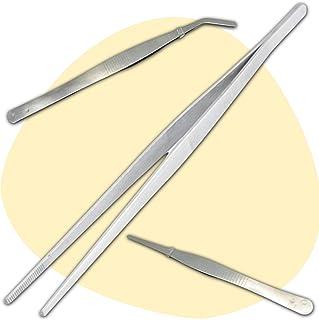 3 Pince Alimentaire Inox (1 Grande Pince Cuisine 30 cm - 1 Pince Droite 18 cm - 1 Pince Courbée 18 cm) - Solution Simple e...