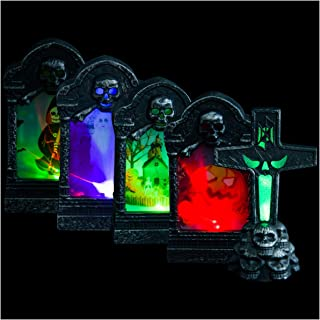 5 Pack Halloween LED Graveyard Tombstones- Halloween Skull Graveyard Lamp Decorations in 5 Styles Mini Headstone Decoratio...