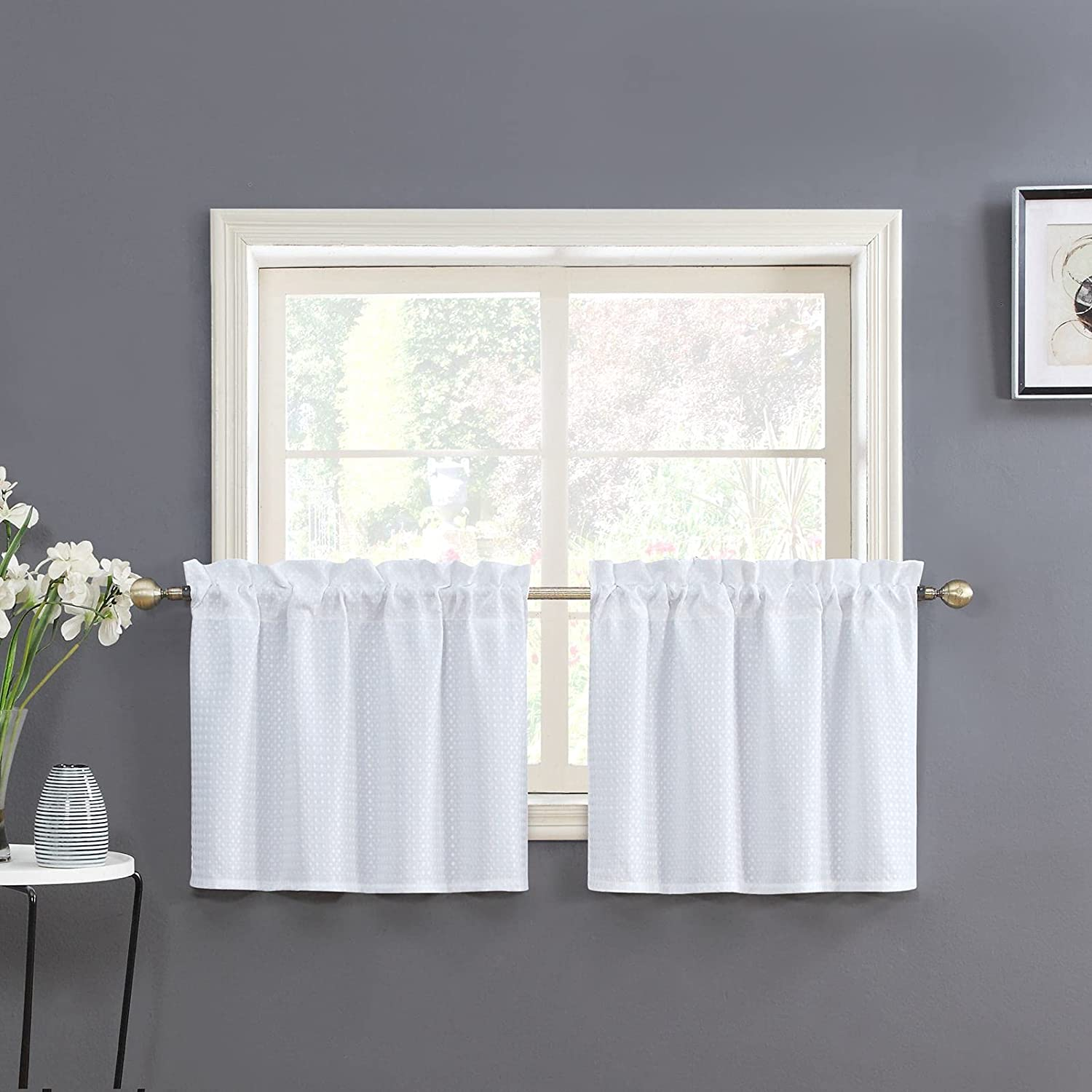 Home Queen White Water Max 78% OFF Resistant New popularity Curtain Bathroom Waffle Window