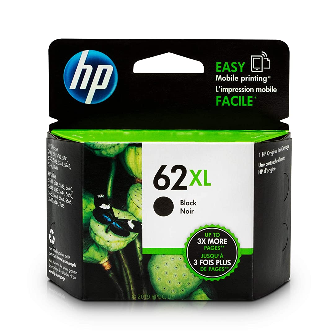 HP 62XL Black Ink Cartridge (C2P05AN) for HP ENVY 5540 5541 5542 5543 5544 5545 5547 5548 5549 5640 5642 5643 5644 5660 5661 5663 5664 5665 7640 7643 7644 7645 HP Officejet 200 250 258 5740 5741 wsh11296044