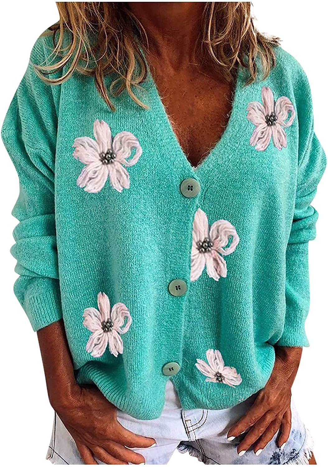 Women's Retro Embroidered Knit Long Sleeve Single-Breasted V-Neck Sweater Loose Casual Warm Cardigan