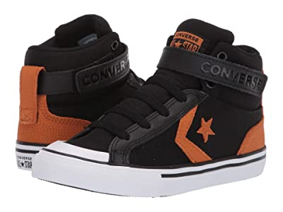 Converse Kids Pro Blaze Strap Back Court Leather Hi (Little Kid/Big Kid) (Black/Monarch/White) Boys Shoes