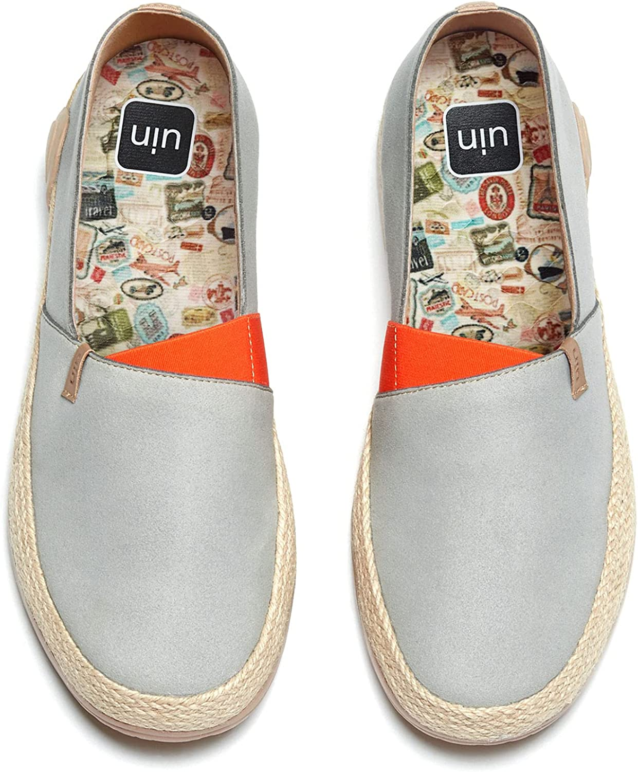 UIN Men's Espadrilles Slip Ons Canvas Lightweight Walking Casual Loafers Comfortable Art Painted Travel Shoes Marbella