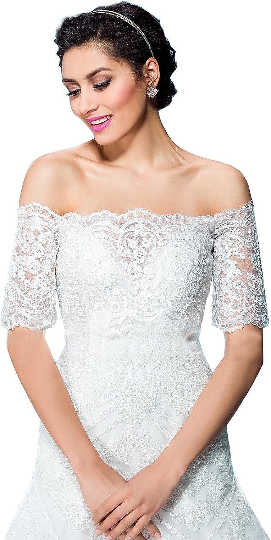 EllieHouse Women's Lace Off Shoulder Bolero Jacket Wedding Bridal Wraps WJ58