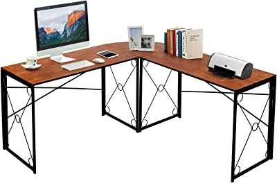 VECELO L-Shaped Corner Computer Home Office Desk 39.4-Inch Writing Work Station for Gaming/Study, No Assembly Required, Space-Saving, Brown