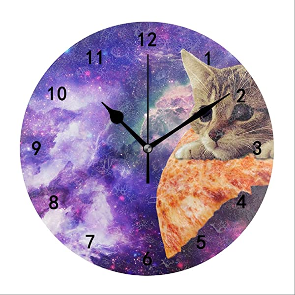 Kefanlk Pizza Galaxy Cat Wall Clock For Kitchen Bedroom Bathroom Living Room Classroom