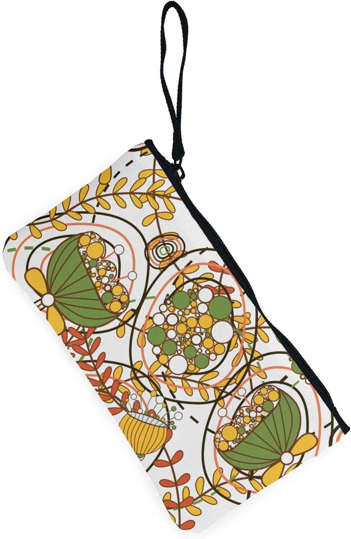 AORRUAM Art Foliage Canvas Coin Purse,Canvas Zipper Pencil Cases,Canvas Change Purse Pouch Mini Wallet Coin Bag