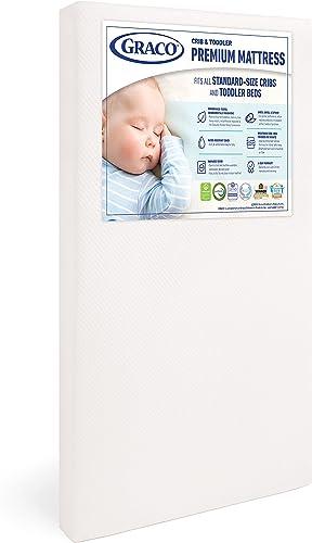 Graco Premium Foam Crib and Toddler Mattress (White) – Ships Compressed in Lightweight Box, Ideal Mattress Firmness, ...
