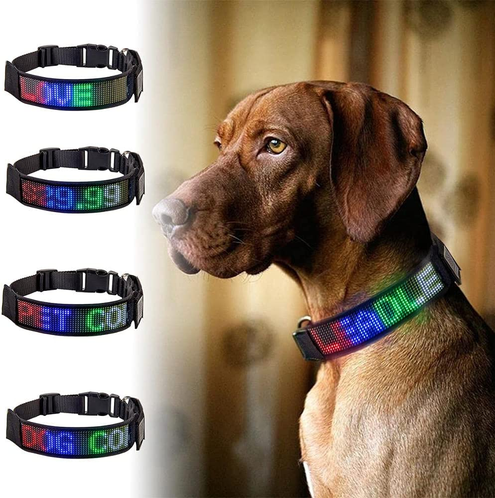 TANGIST Led Pet Collar Excellence Scrolling Message Programmable Shipping included Bluetooth
