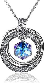 Collana con cristalli Swarovski, collana pendente ChasBete da donna, gioielli scintillanti, collane placcate platino 40 + ...