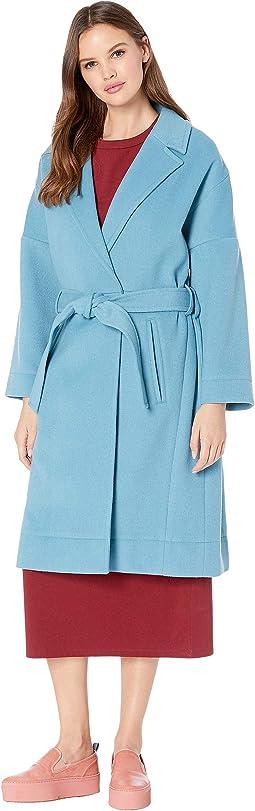 Wool Blend Tie Coat