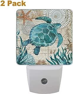 Vdsrup Vintage Ocean Turtle Night Light Set of 2 Sea Starfish World Map Plug-in LED Nightlights Auto Dusk-to-Dawn Sensor Lamp for Bedroom Bathroom Kitchen Hallway Stairs