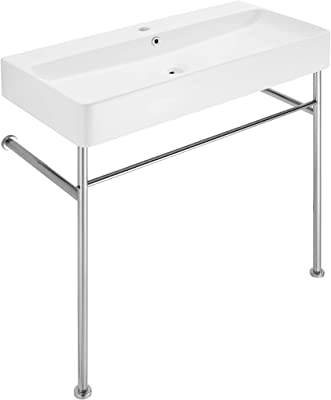 """Swiss Madison Well Made Forever SM-CS713 Carre 36"""" Ceramic Console Sink White Basin Chrome Legs"""