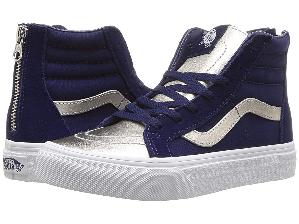 Vans Kids Sk8-Hi Zip (Little Kid/Big Kid) ((Metallic Toe) Medieval Blue/Silver) Girls Shoes