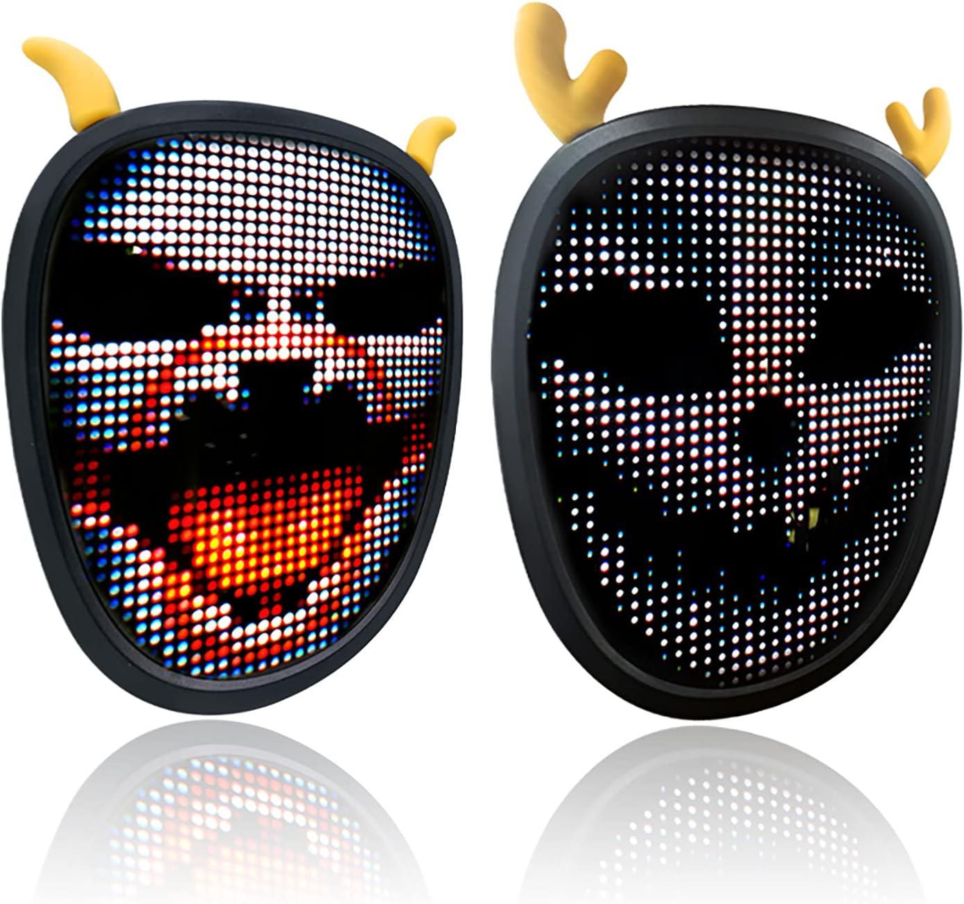 LED Shining Halloween Mask DIY Portland Mall Bluetooth Programmable Ligh Mini Factory outlet