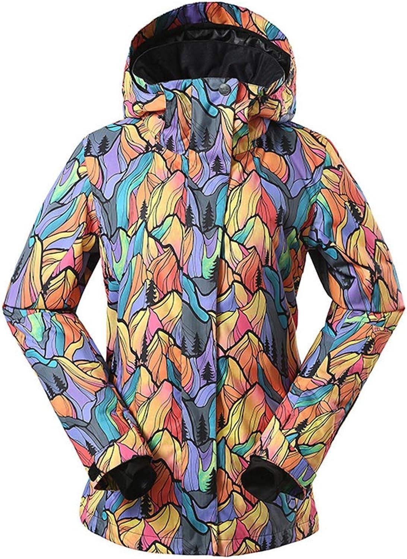 JIBO Woman's printing Hooded Mountain Ski jacket Windproof waterproof Breathable outdoor Women's ski suit
