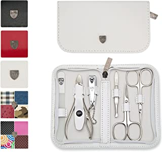 3 Swords Germany - brand quality 6 piece manicure pedicure grooming kit set for professional finger & toe nail care scissors clipper genuine leather case in gift box, Made in Solingen Germany (02266)