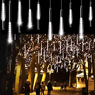 Aluan Christmas Lights Meteor Shower Rain Lights 10 Tube 240 LED 12 Inch Waterproof Plug..