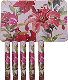 Kuber Industries Flower Design PVC 6 Pieces Dining Table Placemat Set (Pink)